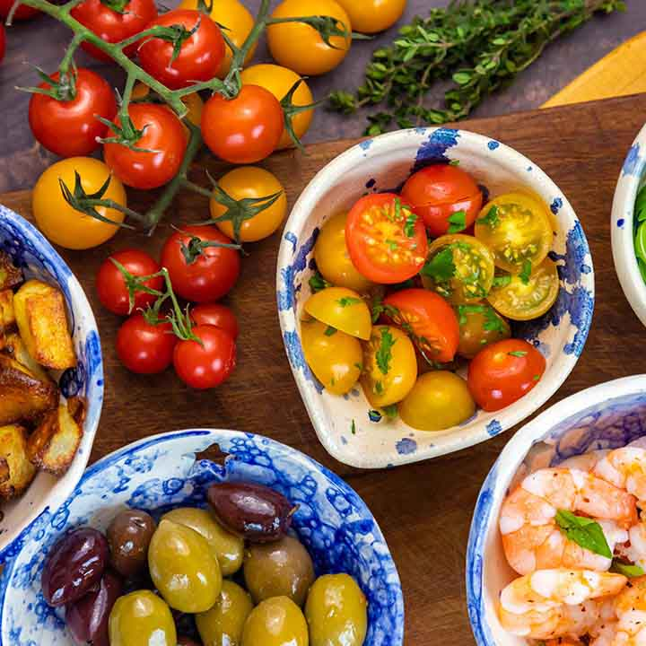 Colourful bowls of tomatoes